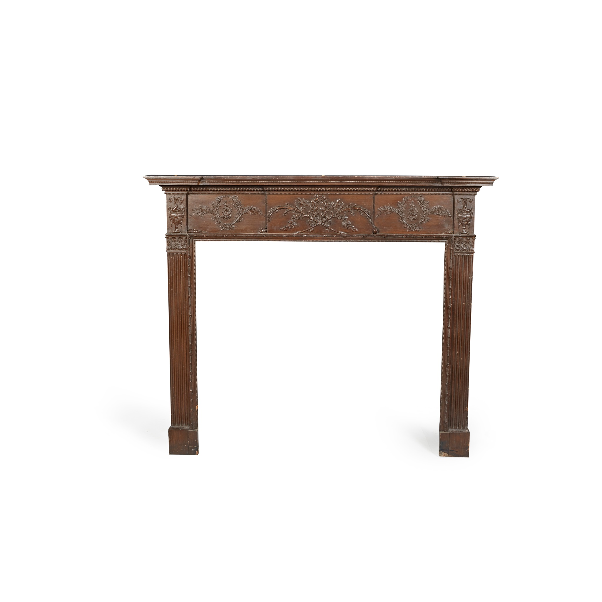 GEORGIAN PAINTED PINE AND GESSO FIRE SURROUND LATE 18TH/ EARLY 19TH CENTURY