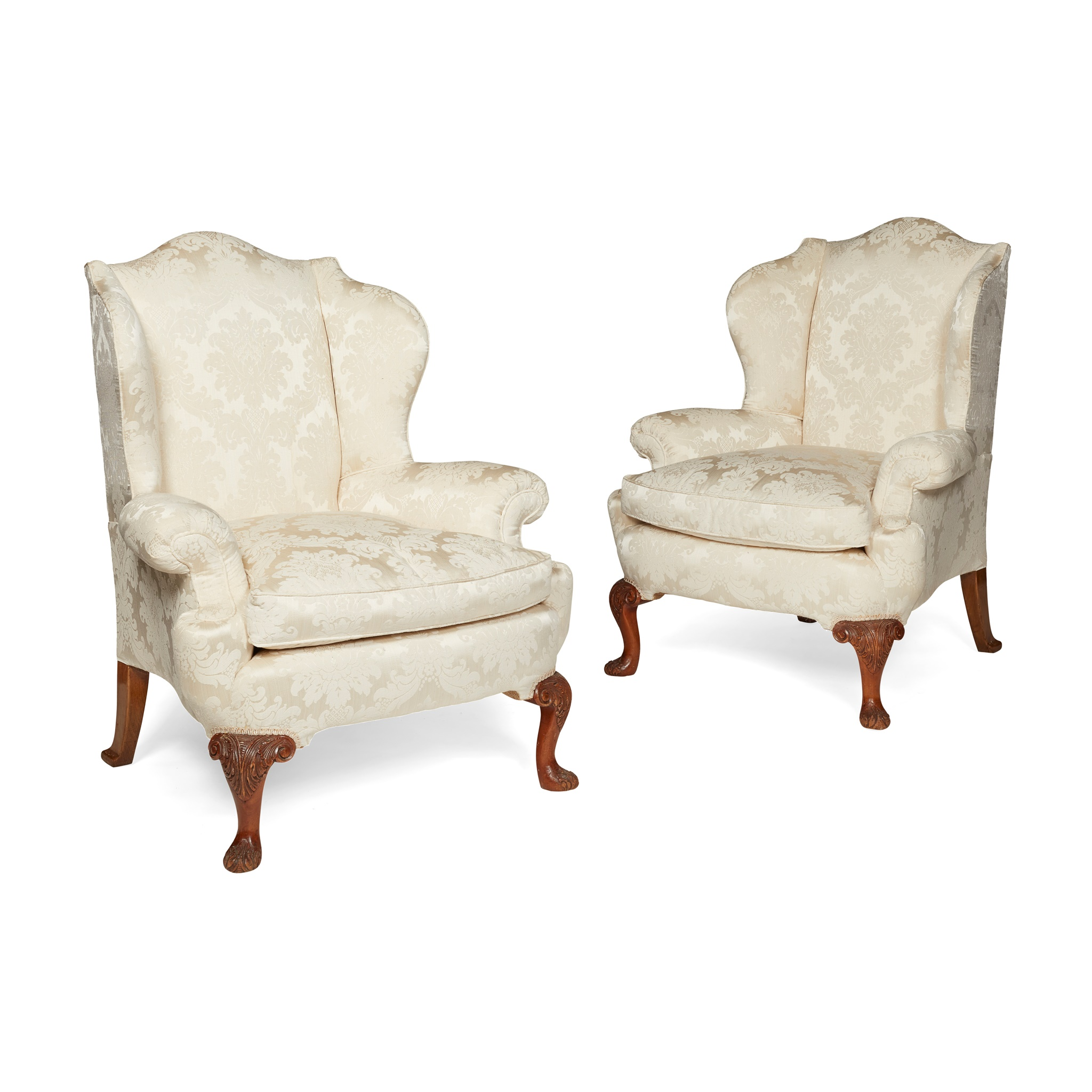 PAIR OF GEORGE II STYLE WING ARMCHAIRS 20TH CENTURY