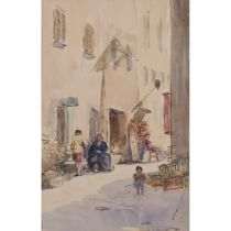 § JAMES MCBEY (SCOTTISH 1883-1959) FIGURES IN A SUNLIT STREET, VILLEFRANCHE