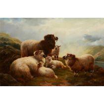 ROBERT WATSON (BRITISH 1865-1916) SHEEP ON A HILLSIDE