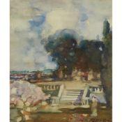 JAMES WATTERSON HERALD (SCOTTISH 1859-1914) A GARDEN TERRACE