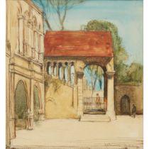 SIR DAVID YOUNG CAMERON R.A., R.S.A., R.W.S., R.S.W., R.E. (SCOTTISH 1865-1945) PILGRIM'S PORCH,