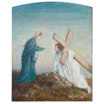 JOHN MCKIRDY DUNCAN (SCOTTISH 1866-1945) BEARING THE CROSS