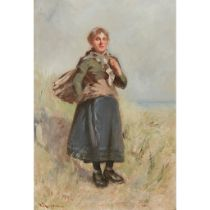 WILLIAM BRADLEY LAMOND R.B.A. (SCOTTISH 1857-1924) THE YOUNG FISHER GIRL