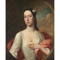 ‡ ATTRIBUTED TO ANNE FORBES HALF LENGTH PORTRAIT OF A LADY IN WHITE