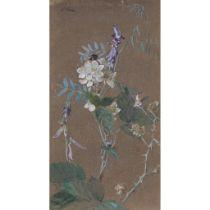 EDWIN JOHN ALEXANDER R.S.A., R.S.W., R.W.S. (SCOTTISH 1870-1926) BRAMBLE AND PURPLE VETCH