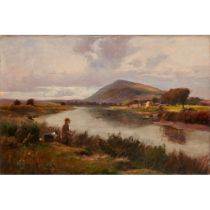 WILLIAM BRADLEY LAMOND R.B.A. (SCOTTISH 1857-1924) A RIVER LANDSCAPE WITH GHILLIE AND DOG