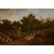 PATRICK NASMYTH (SCOTTISH 1787-1831) A WOODED RIVER LANDSCAPE WITH COTTAGE
