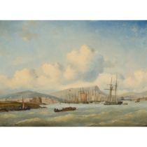 ARY PLEIJSIER (DUTCH 1809-1879) SHIPPING OFF LEITH
