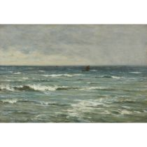 JOSEPH HENDERSON R.S.W (SCOTTISH 1832-1908) THE OPEN SEA WITH DISTANT FISHING BOATS