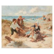§ JESSIE M. MCGEEHAN (SCOTTISH 1872-1961) PLAYING WITH THE FISHING NETS