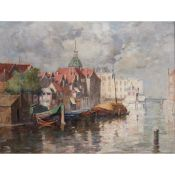 WILLIAM MARSHALL BROWN R.S.A., R.S.W (SCOTTISH 1863-1936) BARGES IN A RIVERSIDE TOWN