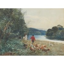TOM SCOTT (SCOTTISH 1859-1927) HOUNDS ON A RIVER BANK
