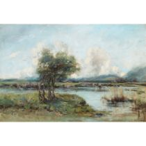WILLIAM ALFRED GIBSON (SCOTTISH 1866-1931) TREES ON MARSHLAND