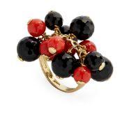 Y A coral and onyx bead ring, Raiola