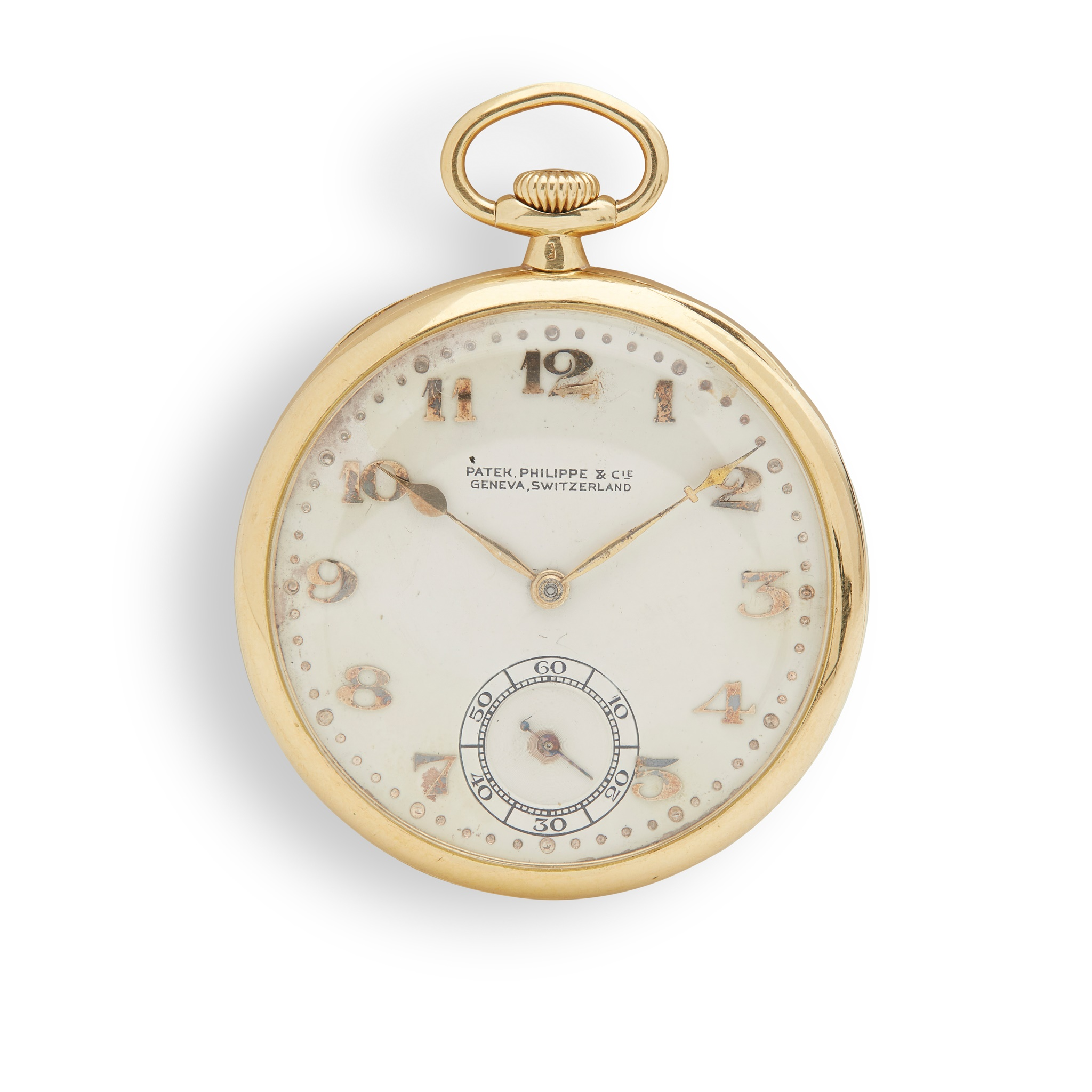 Patek Philippe: a gold pocket watch 18ct gold case, open face keyless wind, signed Patek Philippe