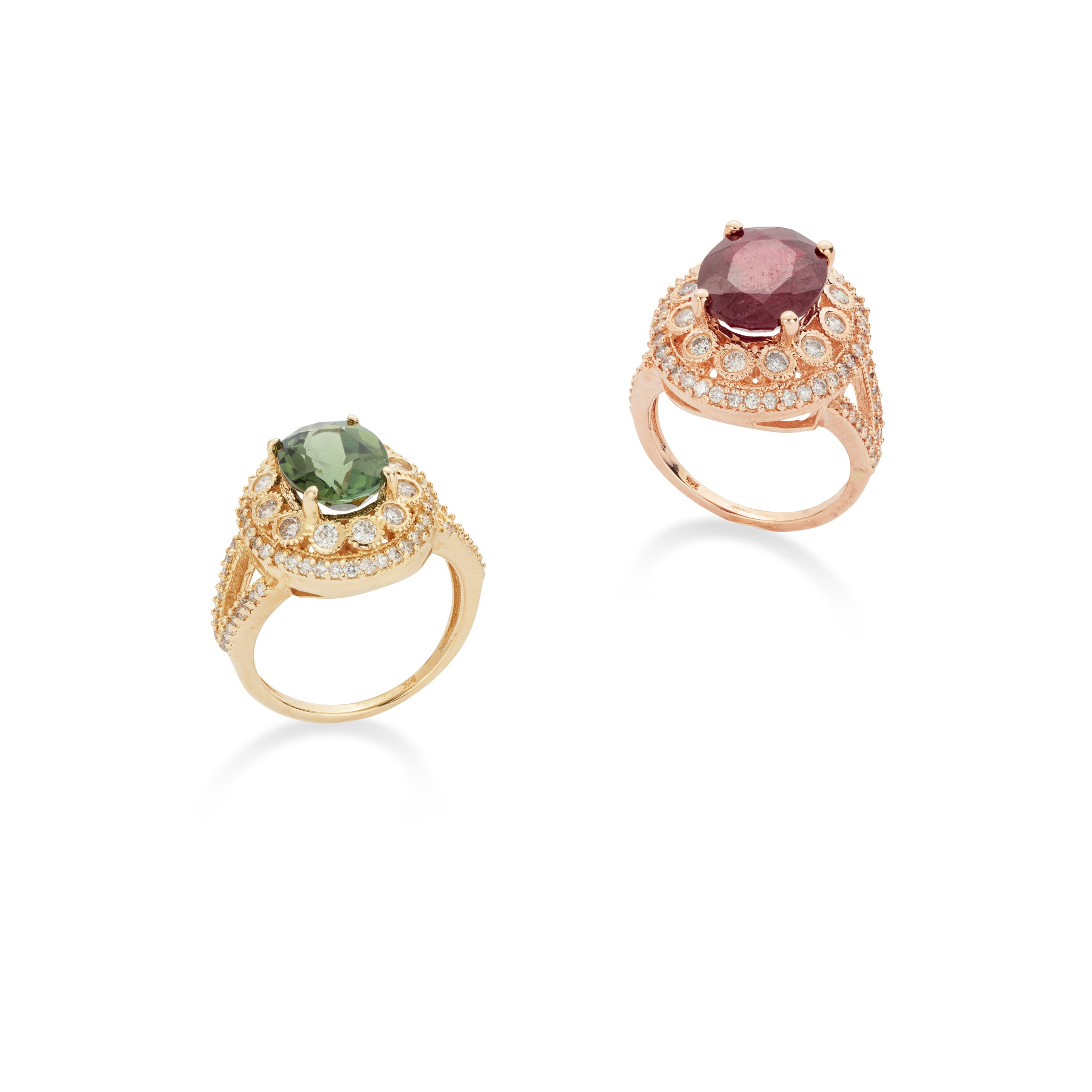 Two diamond and gem-set rings ring The oval-cut green tourmaline, to a brilliant-cut diamond