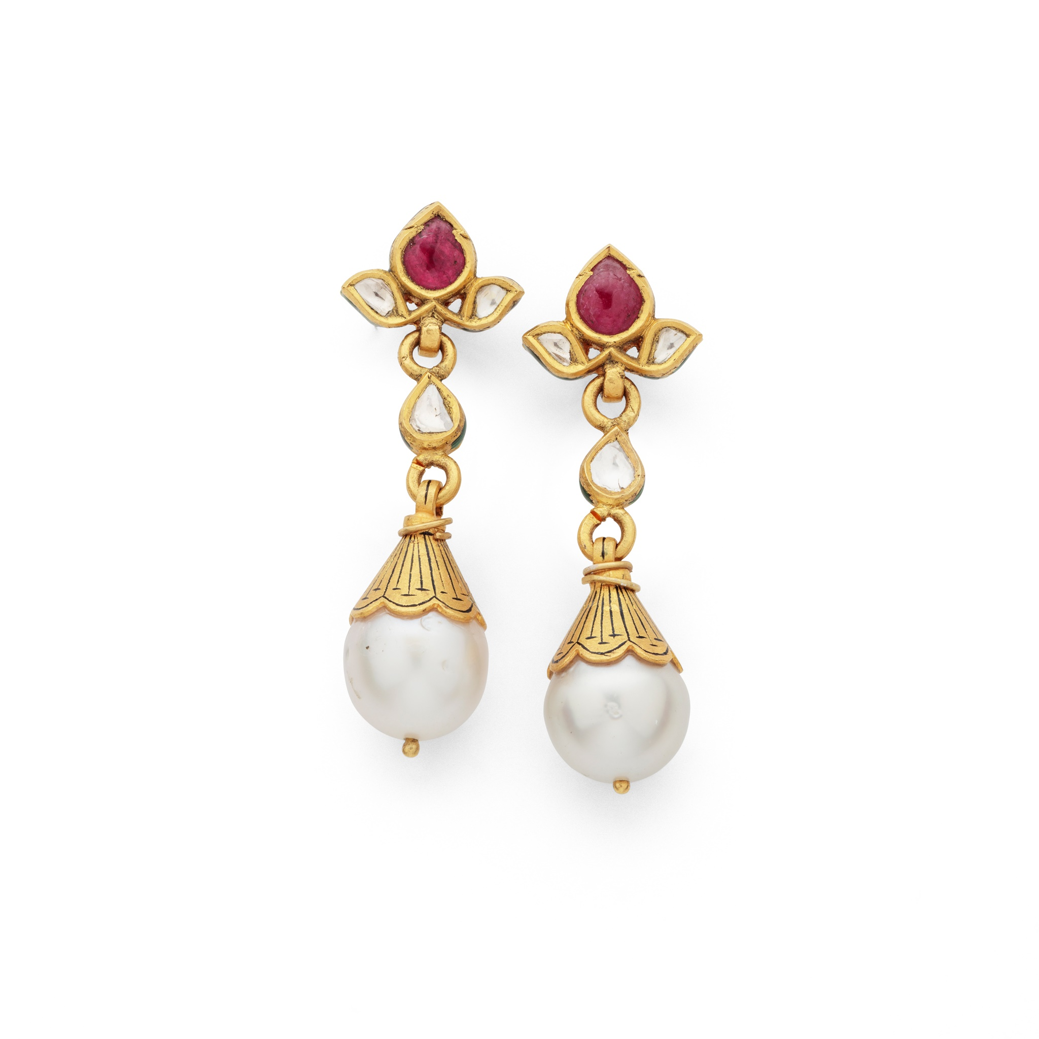 A pair of Indian gem-set pendent earrings Each 9.2mm cultured pearl with scalloped cap decorated