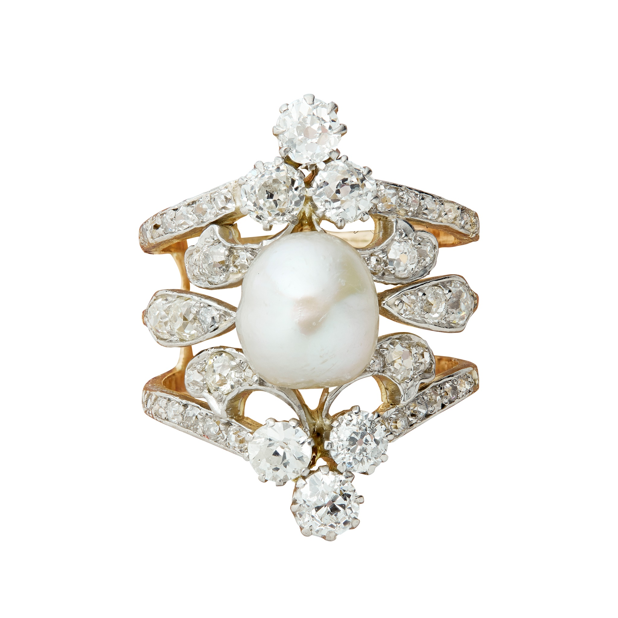 An early 20th century natural pearl and diamond ring The 8.73 x 7.87mm natural pearl mounted on a - Image 6 of 6