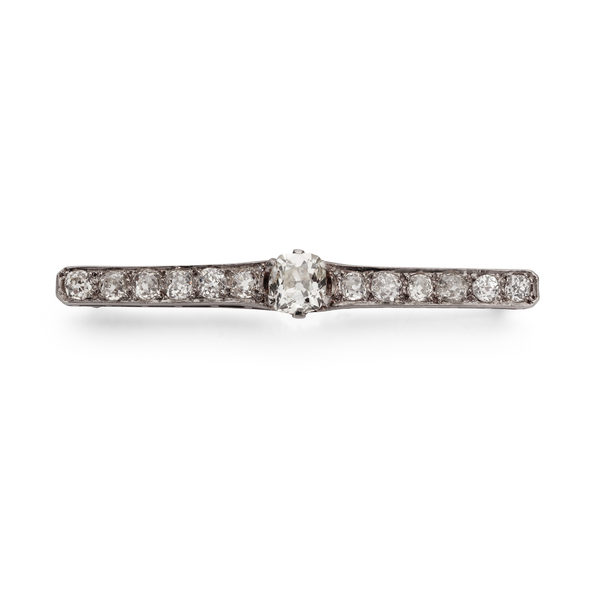 An early 20th century diamond bar brooch The central old cushion-shaped diamond in a six-claw mount,