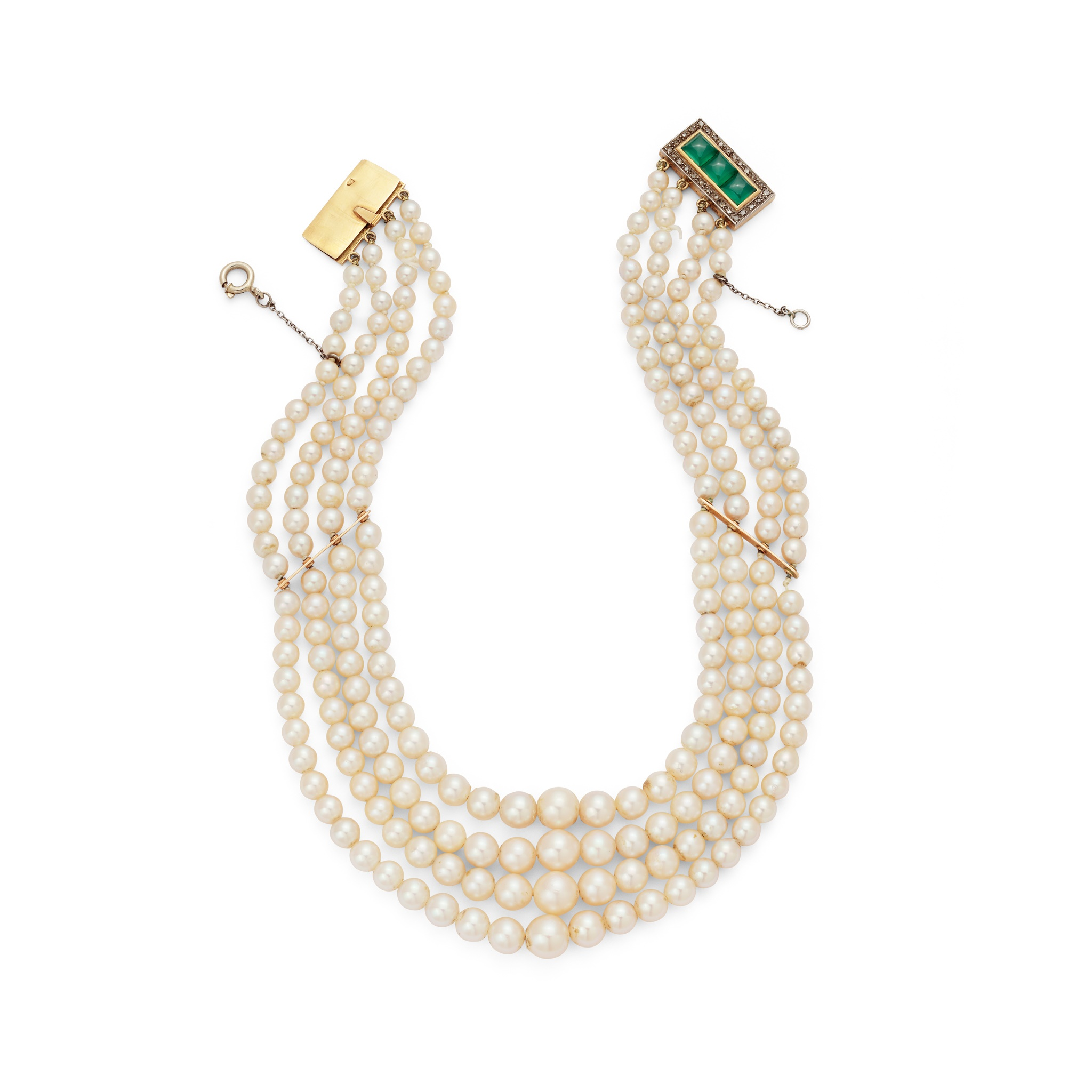 An early 20th century cultured pearl choker Composed of four graduated strands of 3.75- 7.46mm