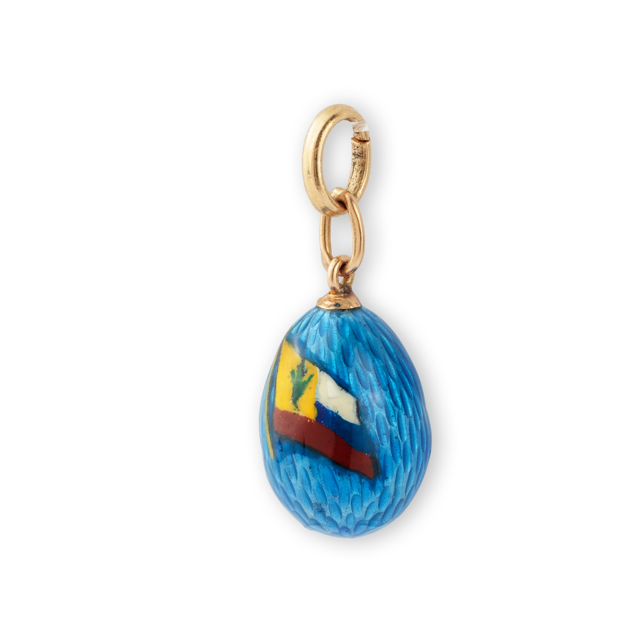An early 20th century Russian enamelled egg pendant, circa 1914-17 Enamelled in light blue guilloché