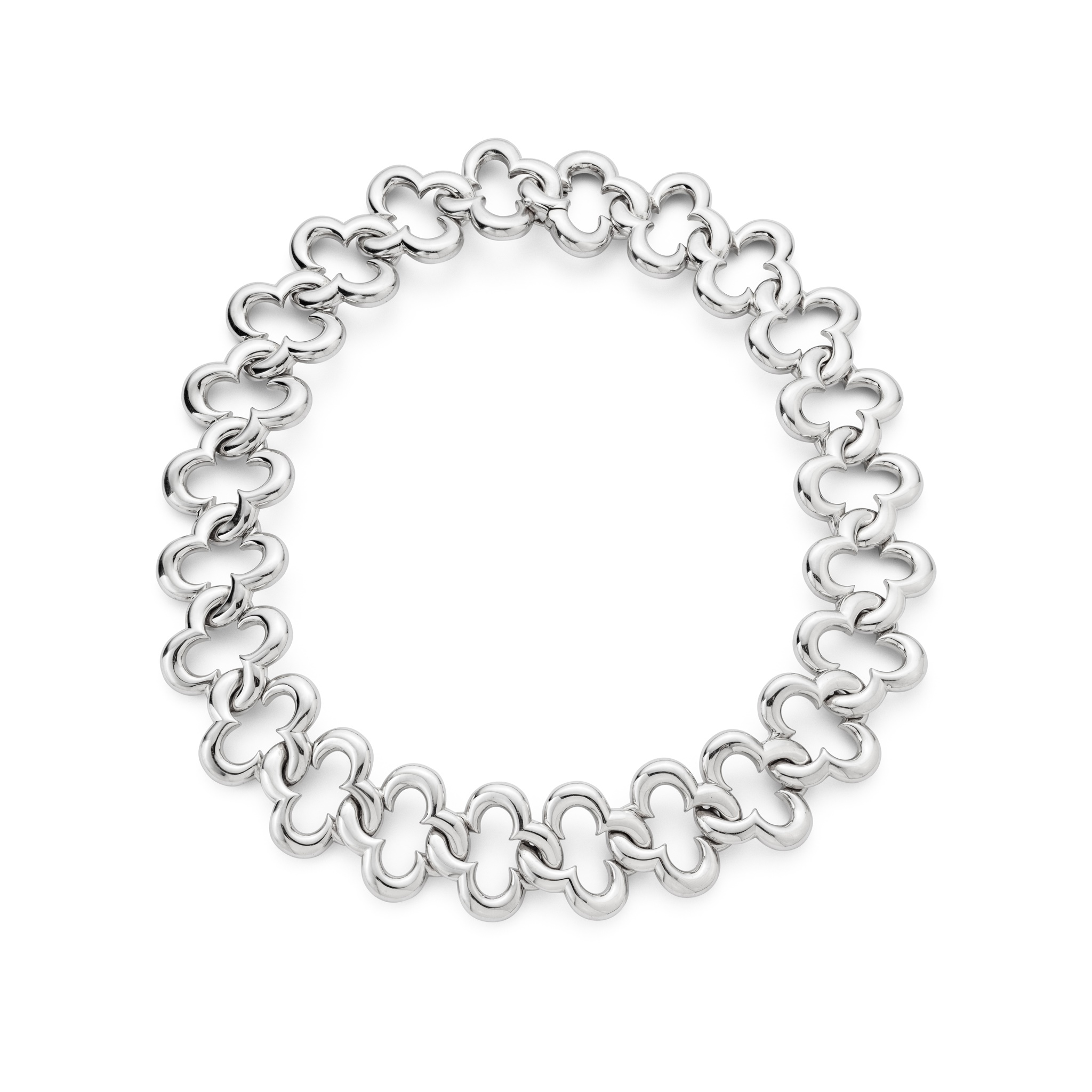 An 'Alhambra' fancy-link necklace, by Van Cleef & Arpels Composed of a series of polished quatrefoil