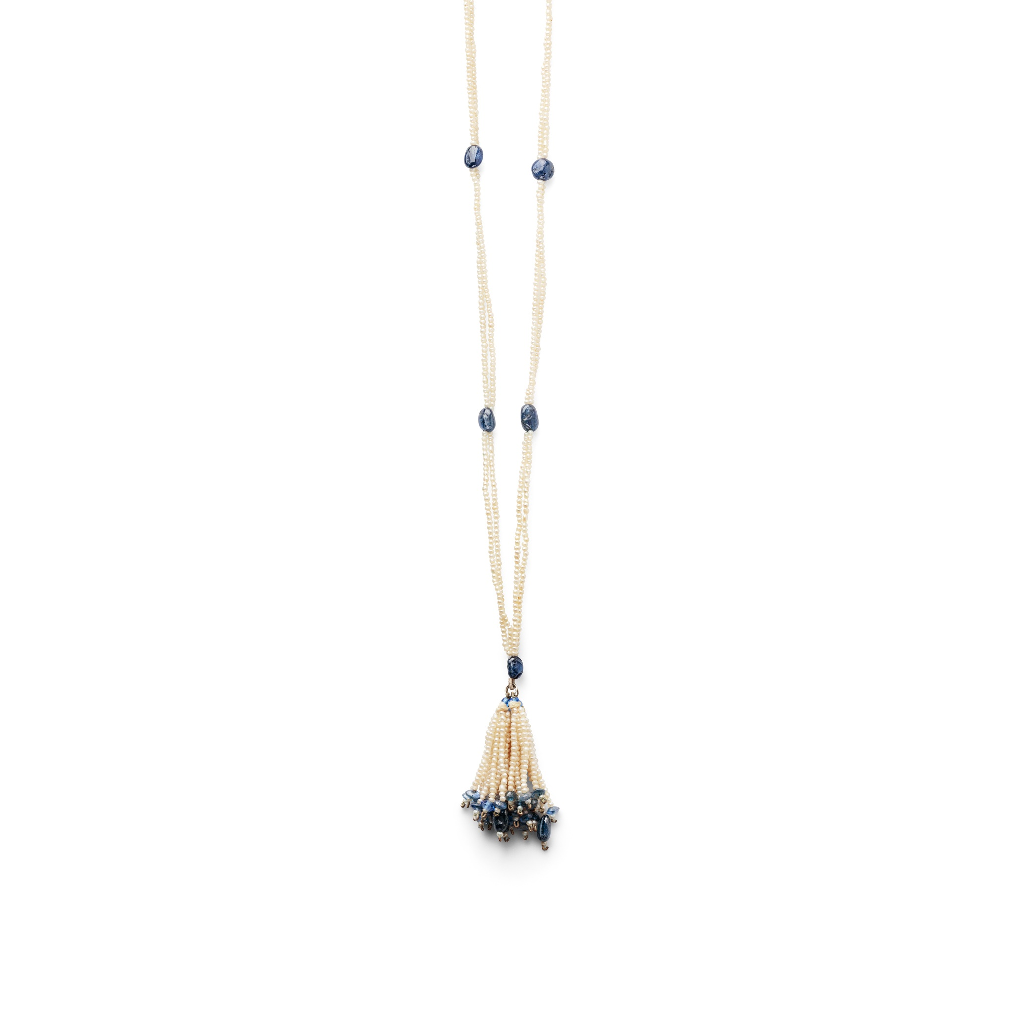 A seed pearl and sapphire bead sautoir Composed of two rows of seed pearls interspersed with
