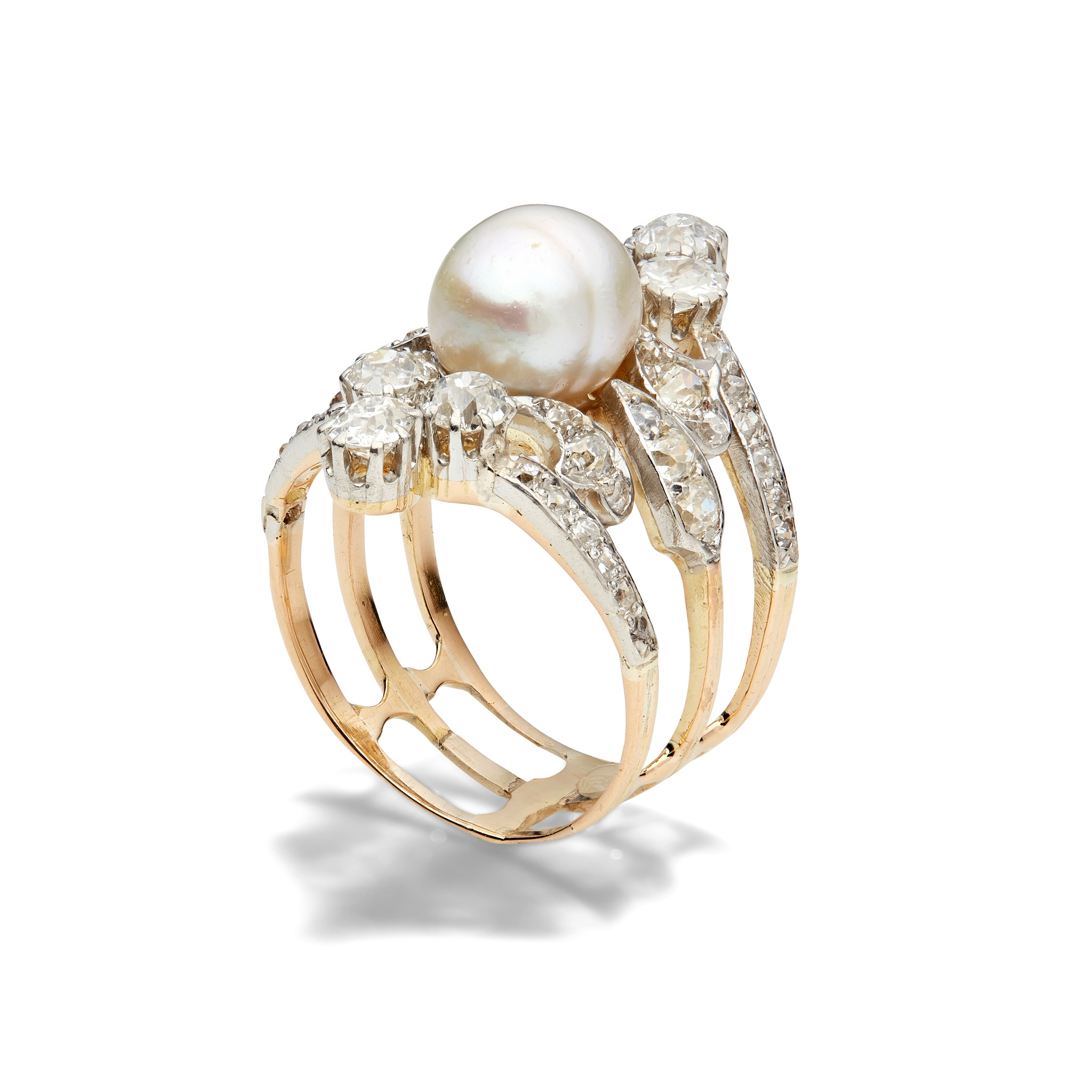 An early 20th century natural pearl and diamond ring The 8.73 x 7.87mm natural pearl mounted on a - Image 2 of 6