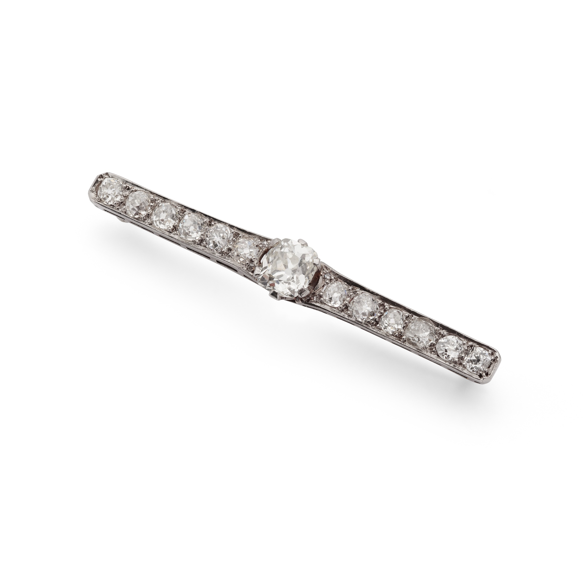 An early 20th century diamond bar brooch The central old cushion-shaped diamond in a six-claw mount, - Image 2 of 2