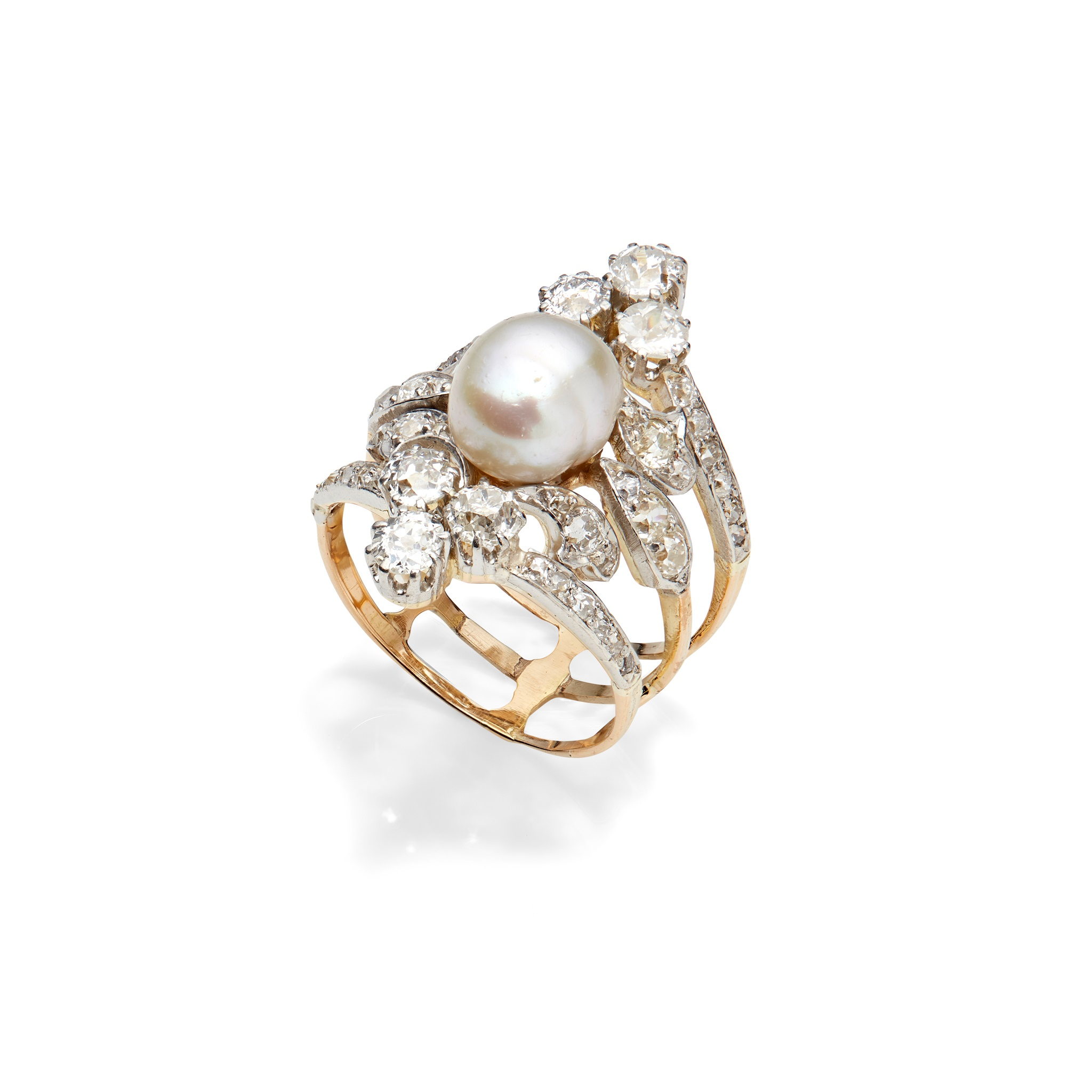 An early 20th century natural pearl and diamond ring The 8.73 x 7.87mm natural pearl mounted on a