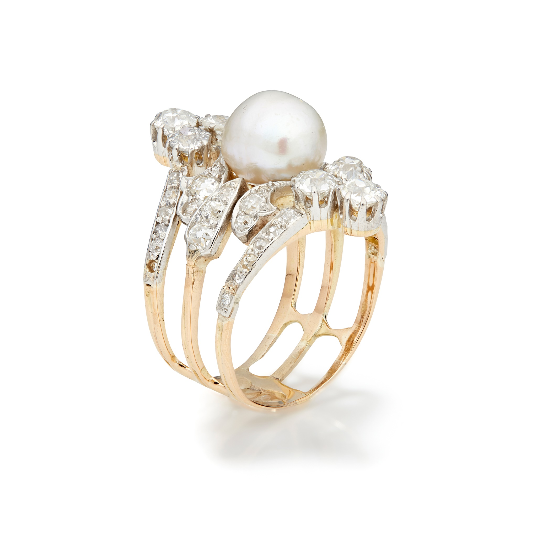 An early 20th century natural pearl and diamond ring The 8.73 x 7.87mm natural pearl mounted on a - Image 5 of 6