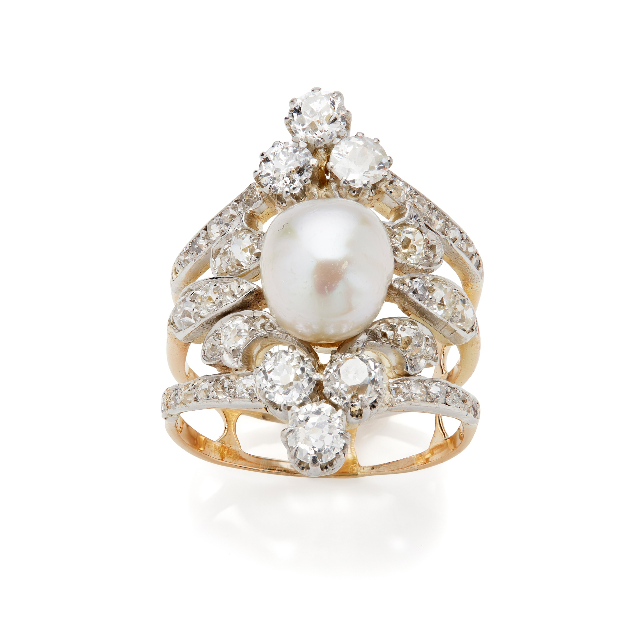 An early 20th century natural pearl and diamond ring The 8.73 x 7.87mm natural pearl mounted on a - Image 4 of 6