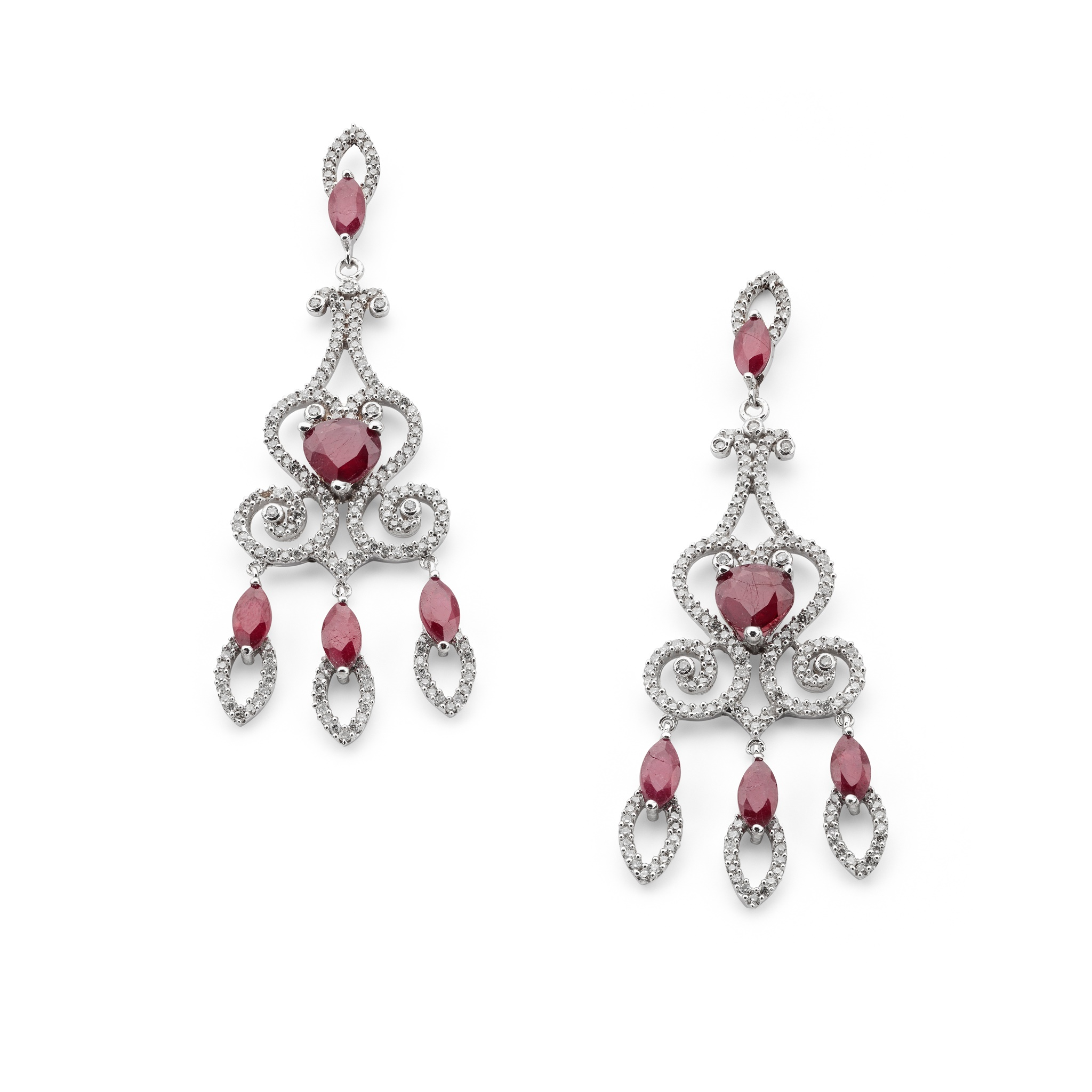 A pair of ruby and diamond pendant earrings Of chandelier design, each pear-shaped ruby centre