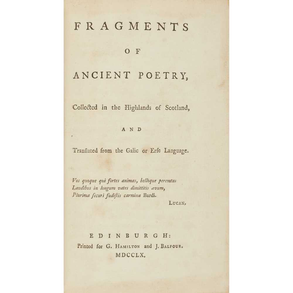 [Macpherson, James] Fragments of Ancient Poetry collected in the Highlands of Scotland, and