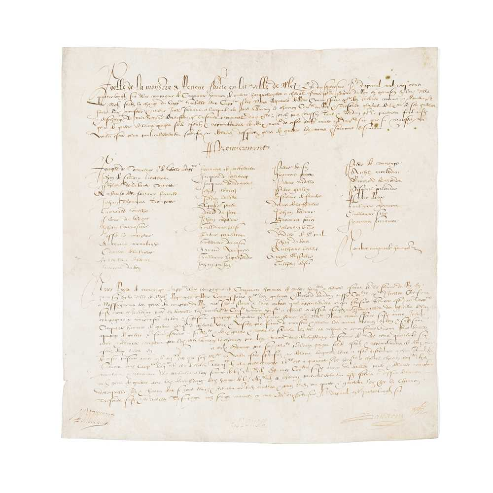 Metz, France. Document concerning payments to a garrison, in French Dated at Metz, 17 April 1586