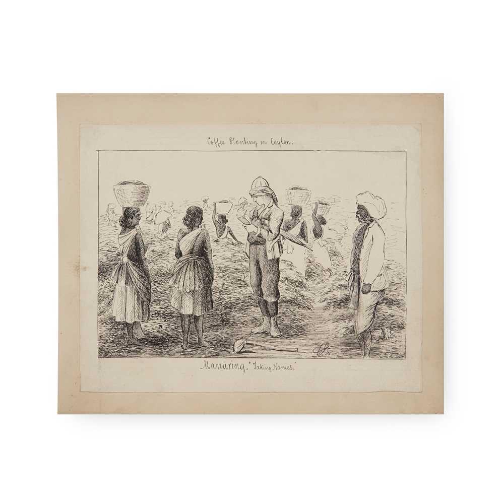 Ceylon [Sri Lanka] 19th century album of sketches and photographs 31 sketches of various sizes, - Image 3 of 4