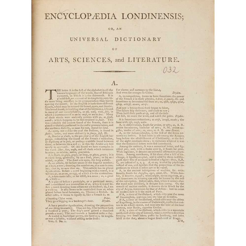 Wilkes, John, editor Encyclopaedia Londinensis. Or, Universal Dictionary of Arts, Sciences, and [ - Image 2 of 2