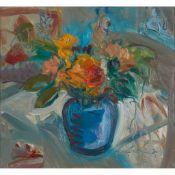 § LESLEY MAIN (SCOTTISH 1959-) FLOWERS (BLUE AND ORANGE)