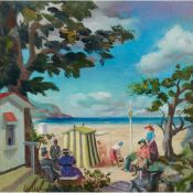 § WILLIAM CROSBIE R.S.A. (SCOTTISH 1915-1999) PICNIC, FINISTIERRE (ON BEACH)