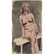 § WILLIAM CROSBIE R.S.A. (SCOTTISH 1915-1999) SEATED NUDE (PINK)
