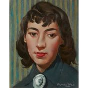 § WILLIAM CROSBIE R.S.A. (SCOTTISH 1915-1999) HEAD OF A WOMAN (WITH BROOCH)