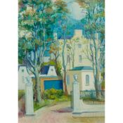 § WILLIAM CROSBIE R.S.A. (SCOTTISH 1915-1999) WHITE GATE WITH HOUSE, c.1970