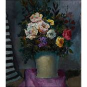 § WILLIAM CROSBIE R.S.A. (SCOTTISH 1915-1999) STILL LIFE WITH ROSES IN A GREY VASE ON PURPLE CLOTH,