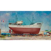 § WILLIAM CROSBIE R.S.A. (SCOTTISH 1915-1999) LOBSTER FISHER REFIT, LE FRET