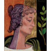§ WILLIAM CROSBIE R.S.A. (SCOTTISH 1915-1999) YE GODS (WOMAN'S HEAD)