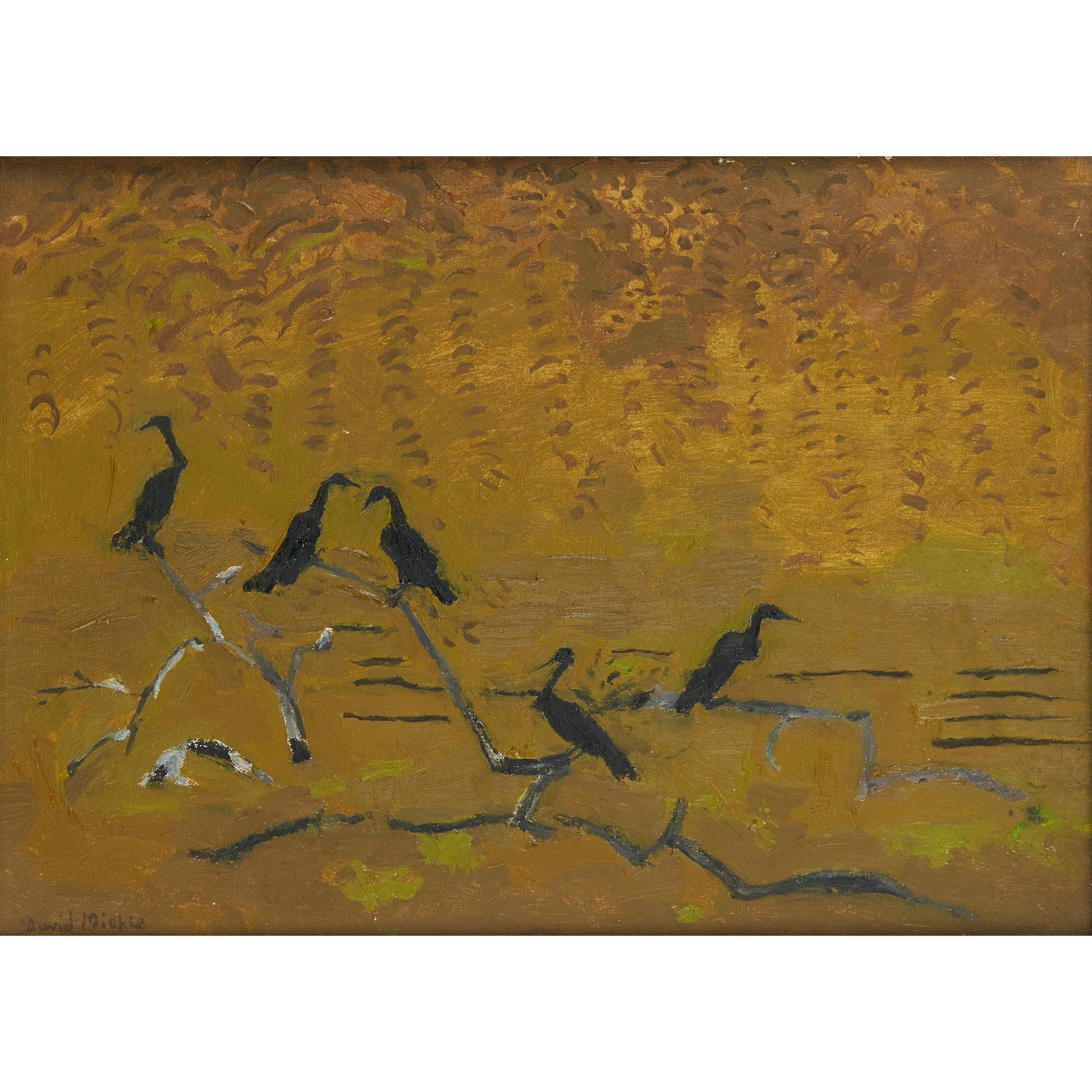 § DAVID MICHIE O.B.E., R.S.A., R.G.I., F.R.S.A (SCOTTISH 1928-2015) CORMORANTS IN THE LAGOON, SANTA