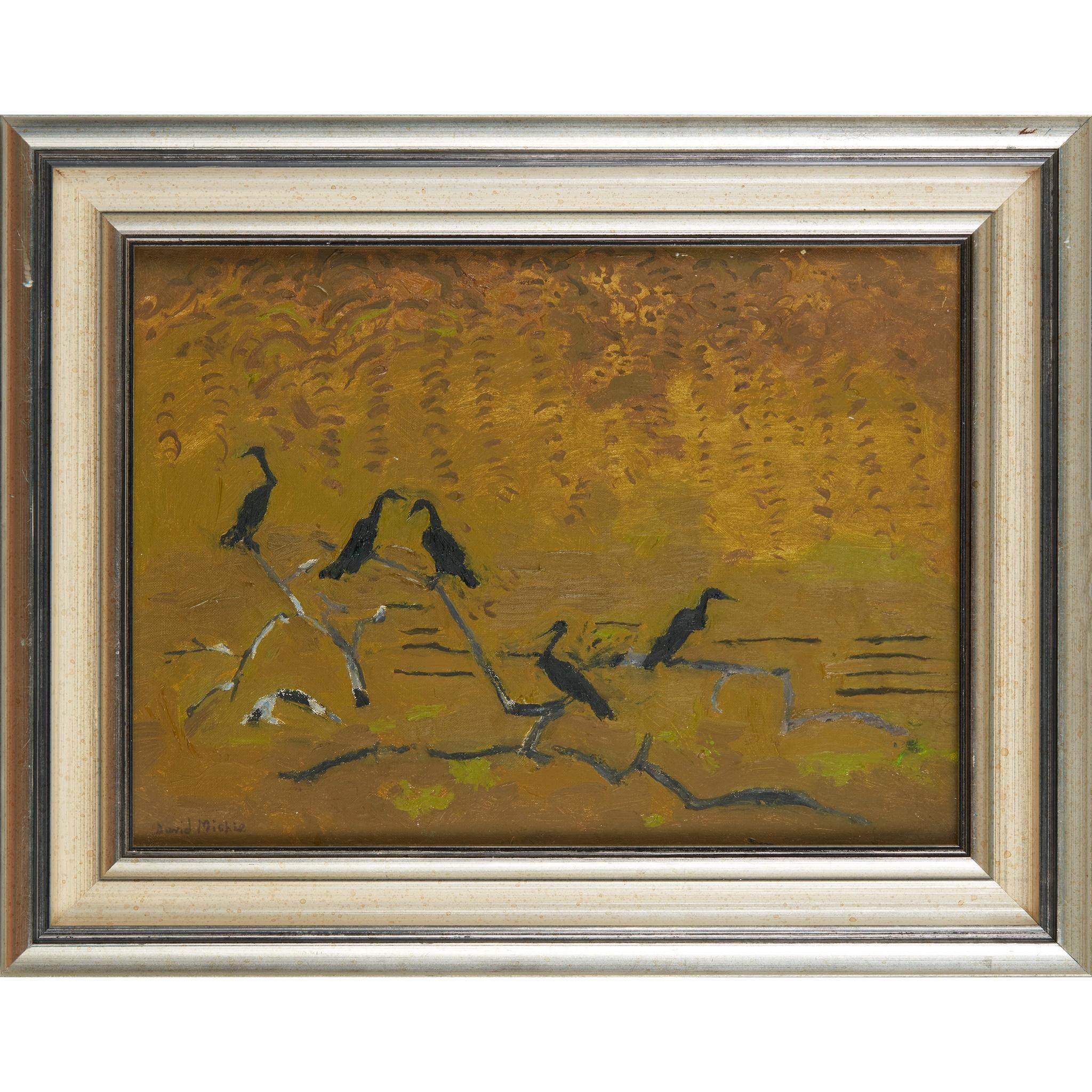 § DAVID MICHIE O.B.E., R.S.A., R.G.I., F.R.S.A (SCOTTISH 1928-2015) CORMORANTS IN THE LAGOON, SANTA - Image 2 of 3