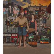 § NORMAN KIRKHAM R.G.I. (SCOTTISH 1936-2021) STREET SCENE (SCENES FROM THE ARTIST'S LIFE)