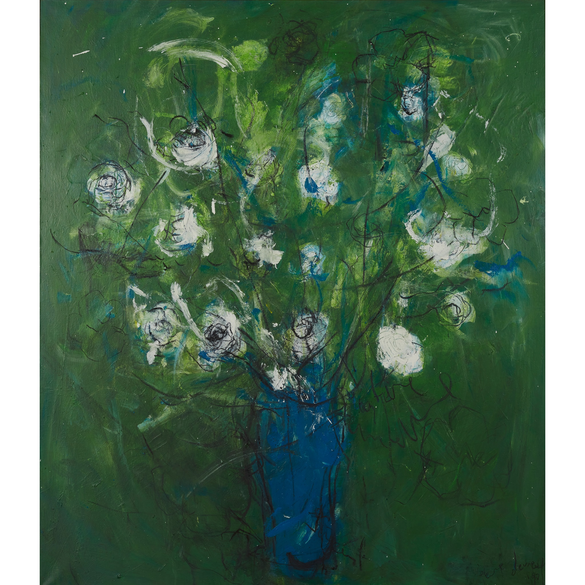 § PIERRE DEVREUX (BELGIAN 1955-) UNTITLED (STILL LIFE OF FLOWERS ON A GREEN GROUND), 1990